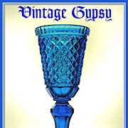 Spectacular Huge Blue Pattern Glass Chalice