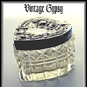 Hand Cut Glass Trinket or Jewelry Box with Decorative Sterling Silver Lid
