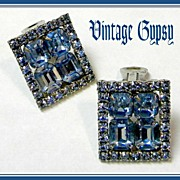 Sparkling Vintage Sky Blue Glass & Rhinestones Earrings