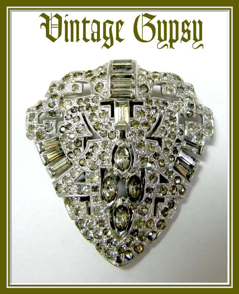 1940's Vintage Dress Clip Covered in Rhinestones & Marcasite