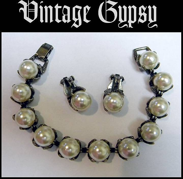 Vintage Bracelet & Earring Set with Huge Faux Pearls
