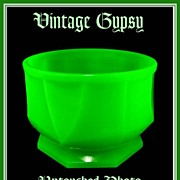 Early 1900's Green Opaline Uranium Glass Vanity Dresser Dish