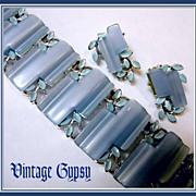1960's Blue Thermoset Bracelet & Earrings with Enameled Leaves