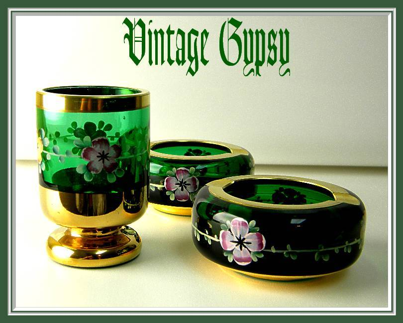 Green Hand Painted Bohemian Glass Cigarette Holder & Two Matching Ashtrays
