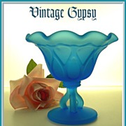 Vintage Frosted Blue Pressed Pattern Glass Compote