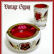 Vintage Heavy Bohemian White Cut to Red Glass Smoking Set