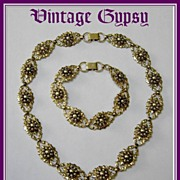 1920's Binder Bros Gold Filled Fancy Ornate Necklace & Bracelet