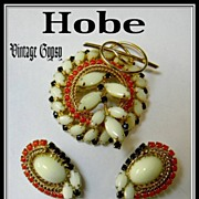 Hobe Signed Fancy Pin & Earrings, Covered with Stones