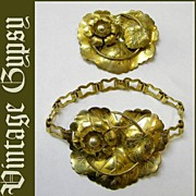 Vintage Brass Bracelet With Huge Centerpiece & Matching Pin