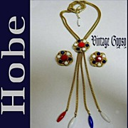 Hobe Signed Bolero Necklace & Matching Earrings Red, White & Blue