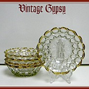 Pretty Set of Five Pressed Pattern Glass Bowls with Gold Colored Trim