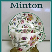 "1948 Minton English Bone China ""Haddon Hall"" Demitasse Cup & Saucer Set"
