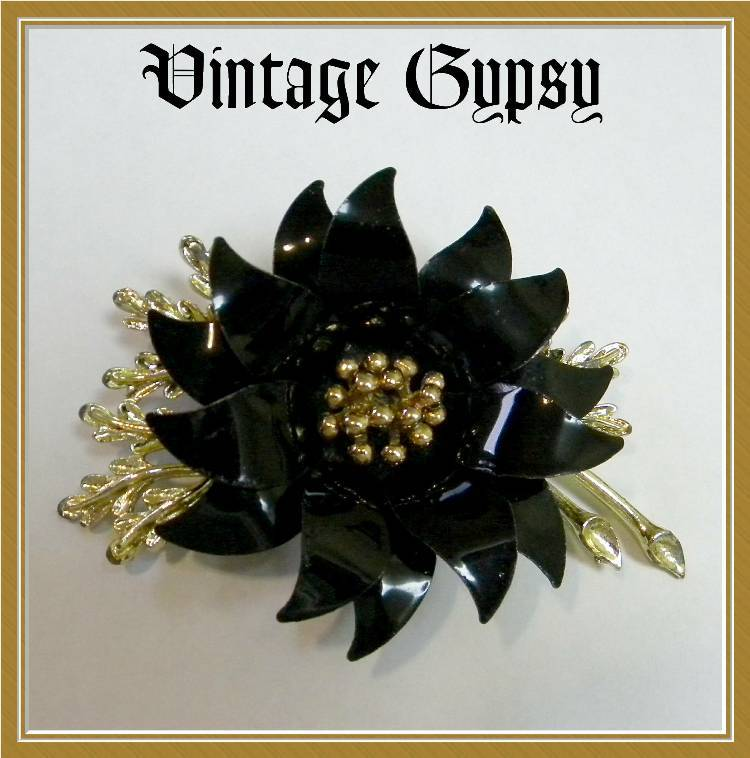 Large Signed Coro Black Flower Brooch