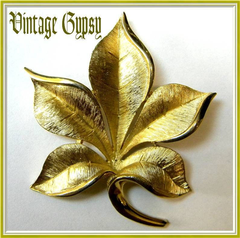 Signed Vintage Trifari Leaf Brooch