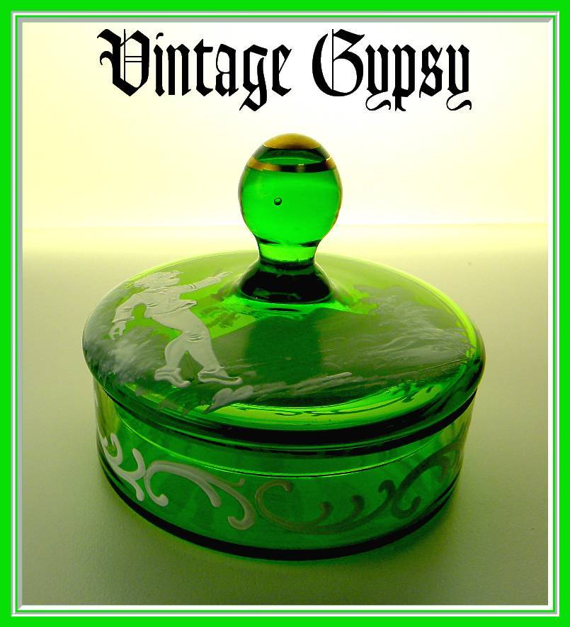 Vintage Mary Gregory Blown Green Glass Covered Powder Box