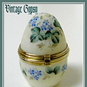 Opaline Glass Hand Painted Egg Trinket Box with Brass Hinged Lid