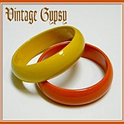 1950's Set of Two Fabulous Japan Enamel-Ware Bangle Bracelets