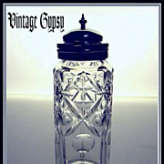 Brilliant Hand Cut Glass Scent Bottle with Decorative Hinged Lid