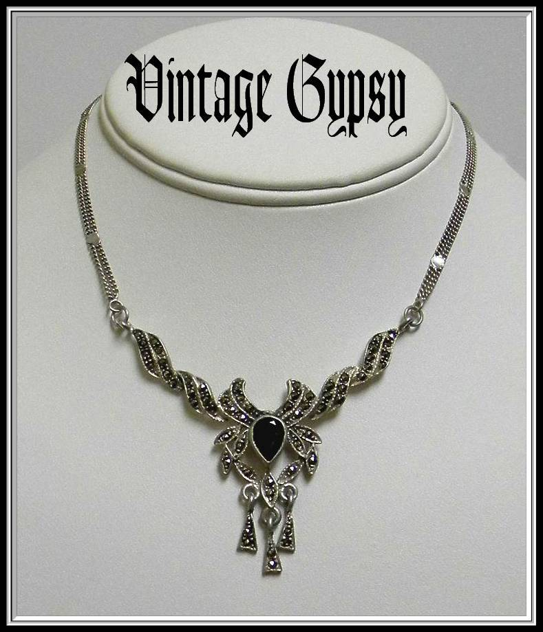 Vintage Sterling Silver Marcasite Drop Necklace