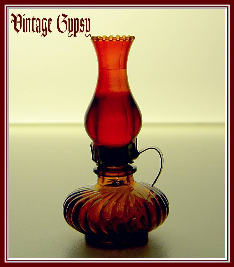 Tiny Vintage Miniature Oil Lamp Scent Bottle