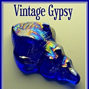 Vintage Blue Iridescent Glass Sea Shell Paperweight