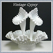 Fenton Milk Glass Hobnail Three Piece Epergne, Circa Pre 1948