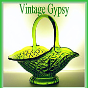 "Vintage Federal Glass ""Cantebury"" Pattern Gorgeous Green Basket"