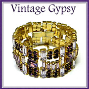 La Rel Signed 1950's Incredible Purple & Lilac Rhinestone Bracelet