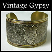 Vintage Bangle Bracelet Intricately Detailed with Inscribed Cartouche