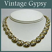 Trifari Signed Gold Colored Metal & Pearls Vintage Necklace