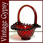 "Fenton Glass Vintage  Fred Bruce ""Hobnail""  Blood Red Basket"