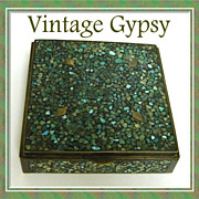 Vintage Bronze & Wood Box Decorated in a Real Turquoise Mosaic