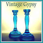 Vintage Brilliant Blue Pressed Glass Candle Holders