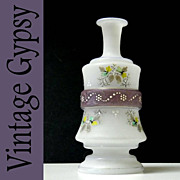 Opaline Glass Vintage Vase with Hand Painted Flowers