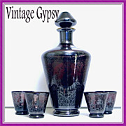 Vintage Amethyst Glass Liquor Set  Heavily Hand Painted with Silver
