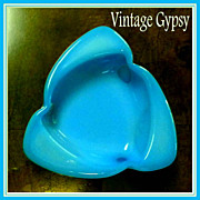 Blue Opaline Glass Cut to Clear Decorative Trinket Dish