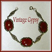 Vintage Carnelian Cabochons & Marcasite Sterling Silver Bracelet