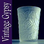 Frosted Glass Tumbler Covered with Embossed Roses