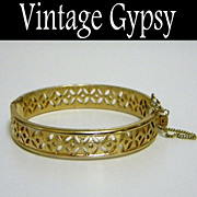 Trifari Bangle Bracelet with Safety Chain, c. 1940's