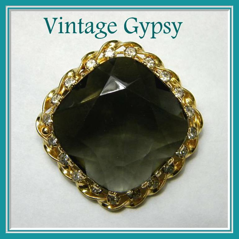 Gorgeous Large Faceted Glass & Rhinestone Brooch, C. 1950's Austria
