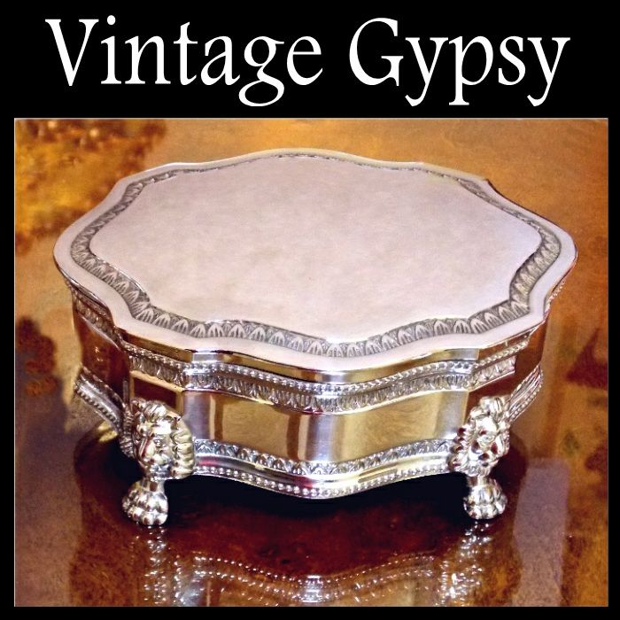 Beautiful Large Jewelry Casket With Lion Heads & Paw Feet