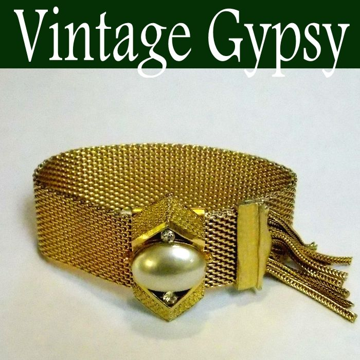 Vintage Mesh Slide Tassel Bracelet ~ Fits All Wrist Sizes~