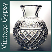 Very Heavy Brilliant Cut Glass Vase...Beautiful!