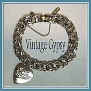 1970's Vintage Monet Charm Bracelet &quot;Happy Birthday&quot; Heart Charm