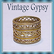 1960's Vintage Cigar Band Wide Filigree Ring