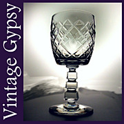 Vintage Libby Rock Sharpe Cut Crystal Water Goblet