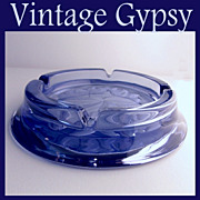 Vintage Lavender Glass Ashtray with Intaglio Cut Floral in Bottom