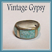1970's Sterling Silver Inlaid with Stone Wide Band Ring