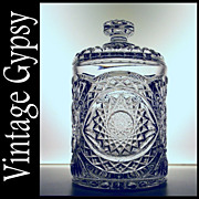 Imperial Glass Pre-1943 Pattern &quot;Hobstar&quot; Covered Cookie Jar