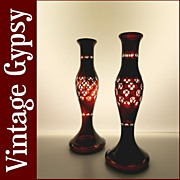 Vintage Bohemian Glass Cut to Clear Blood Red Set of Candle Holders Bud Vases